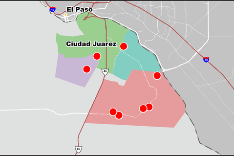 This is a map of Juarez, Mexico